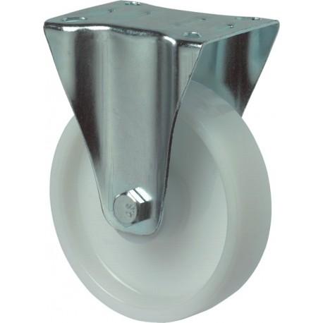 Bokwiel wit+plaat 100mm met rollager