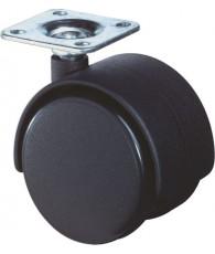 Meubelwiel zwart met plaat 40mm