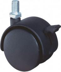 Meubelwiel zwart rem+stift 40mm