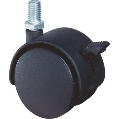 Meubelwiel zwart rem+stift 50mm
