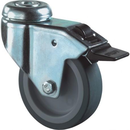 Zwenkwiel+rem met boutgat blauw/grijs 50mm