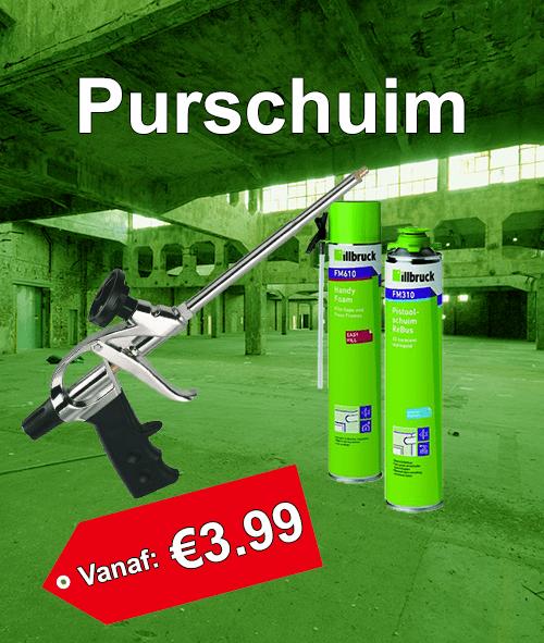 Verschillende soorten purschuim vanaf €3.99. Purschuim voor pistool en purschuim met slang.
