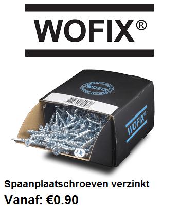 Wofix spaanplaatschroeven verzinkt. Topkwaliteit spaanplaatschroeven tegen een scherpe prijs.